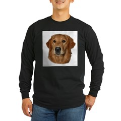 Head Study Golden Retriever Ash Grey Long Sleeve Dark T-Shirt