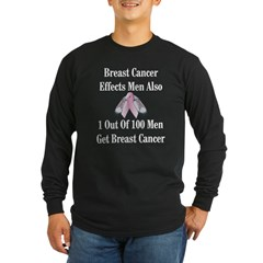 Male Breast Cancer Awareness Black Long Sleeve Dark T-Shirt