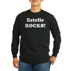 Estelle Rocks! Black Long Sleeve Dark T-Shirt