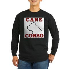 Cane Corso Logo Red Long Sleeve Dark T-Shirt