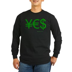 Yen Euro Dollar Long Sleeve Dark T-Shirt