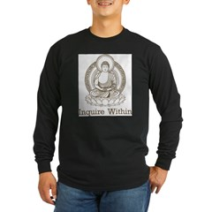 Vintage Buddha Inquire Within Long Sleeve Dark T-Shirt