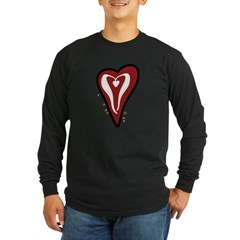 Valentine Dotty Heart Long Sleeve Dark T-Shirt