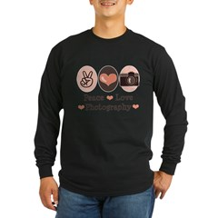 Peace Love Photography Camera Long Sleeve Dark T-Shirt