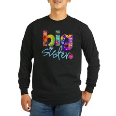big sister t-shirt flower Long Sleeve Dark T-Shirt