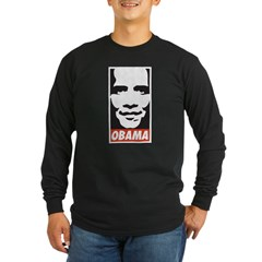 Comic Style Barack Obama Long Sleeve Dark T-Shirt