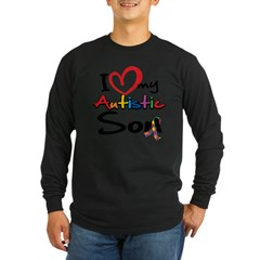 I Love My Autistic Son 2 Long Sleeve Dark T-Shirt