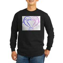 Dolphin Heart Blue and Pink Long Sleeve Dark T-Shirt