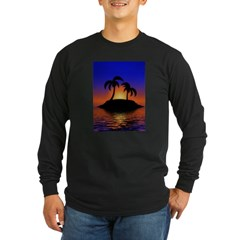 sunrise-sunset--palm-tree-s.jpg Long Sleeve Dark T-Shirt