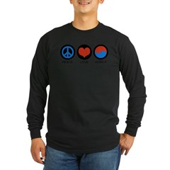 Peace Love Korea Long Sleeve Dark T-Shirt