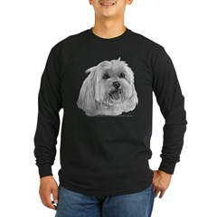 Sadie, Maltese Long Sleeve Dark T-Shirt