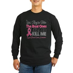 Breast Cancer Fake Long Sleeve Dark T-Shirt