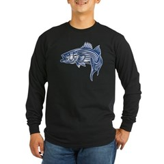 Graphic Striped Bass Long Sleeve Dark T-Shirt
