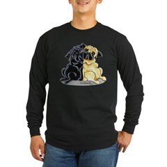 Black Fawn Pug Long Sleeve Dark T-Shirt
