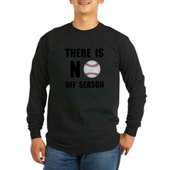 No Off Season Baseball Black Long Sleeve Dark T-Shirt