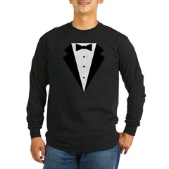 Minimalist Funny Tuxedo Long Sleeve Dark T-Shirt