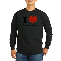 I love Gwendolyn Long Sleeve Dark T-Shirt