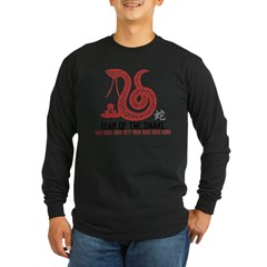 Chinese Paper Cut Year of The Snake Long Sleeve Dark T-Shirt