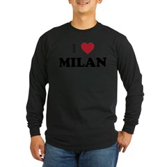 I Love Milan Long Sleeve Dark T-Shirt