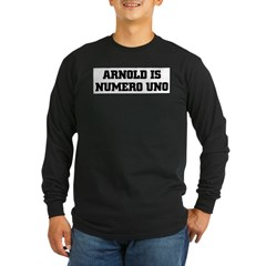 ARNOLD is NUMERO UNO Ash Grey Long Sleeve Dark T-Shirt