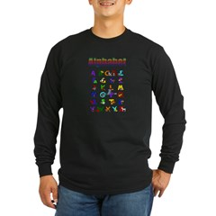 Colorful Alphabet Long Sleeve Dark T-Shirt