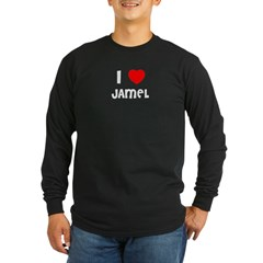 I LOVE JAMEL Black Long Sleeve Dark T-Shirt