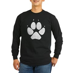 Dog Track Pawprint Black Long Sleeve Dark T-Shirt