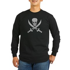 Vintage Pirate Symbol Black Long Sleeve Dark T-Shirt