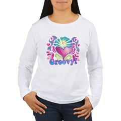 Hippie Groovy Heart Design Women's Long Sleeve T-Shirt