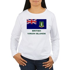 The British Virgin Islands Flag Stuff Women's Long Sleeve T-Shirt