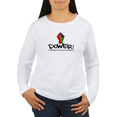 Women's Plus Size V-Neck Dark Black Power Shirt Women's Long Sleeve T-Shirt