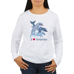 Dolphin Family and Text Women's Long Sleeve T-Shirt