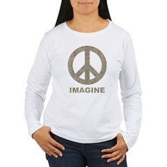 Vintage Imagine Peace Women's Long Sleeve T-Shirt