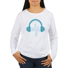 Blue Headphones Maternity Tee (Dark) Women's Long Sleeve T-Shirt