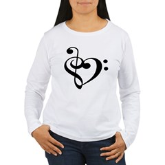 Treble Bass Clef Hear Women's Long Sleeve T-Shirt