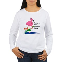 Flamingo on vacation with martini on Women's Long Sleeve T-Shirt