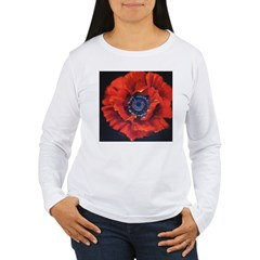 Red Poppy on Black Women's Long Sleeve T-Shirt
