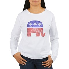 Faded Republican Elephant Women's Long Sleeve T-Shirt