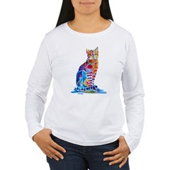 Whimsical Elegant Cat Women's Long Sleeve T-Shirt