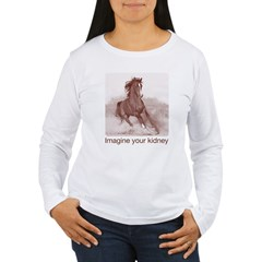 horse imagine your kidney (halftone) Women Light Women's Long Sleeve T-Shirt