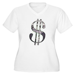 US Dollar Sign | Women's Plus Size V-Neck T-Shirt