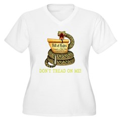 DTOM - Don't Tread on Me! Black T-Shir Women's Plus Size V-Neck T-Shirt