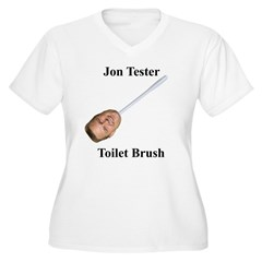 Jon Tester Toilet Brush Women's Plus Size V-Neck T-Shirt
