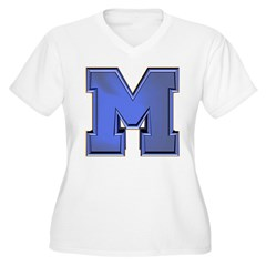 M Go Blue Women's Plus Size V-Neck T-Shirt