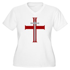 Crusader Sword Women's Plus Size V-Neck T-Shirt