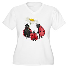 Ladybug Stroll Women's Plus Size V-Neck T-Shirt