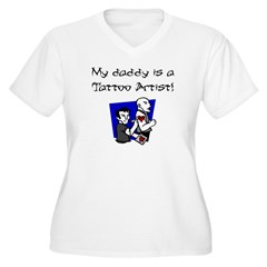 My Daddy is a Tattoo Artist Women's Plus Size V-Neck T-Shirt