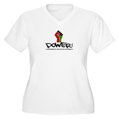 Women's Plus Size V-Neck Dark Black Power Shirt Women's Plus Size V-Neck T-Shirt