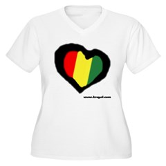 Rasta Hear Women's Plus Size V-Neck T-Shirt