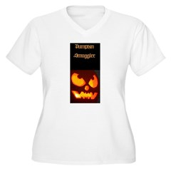 """Pumpkin Smuggler"" Women's Plus Size V-Neck T-Shirt"
